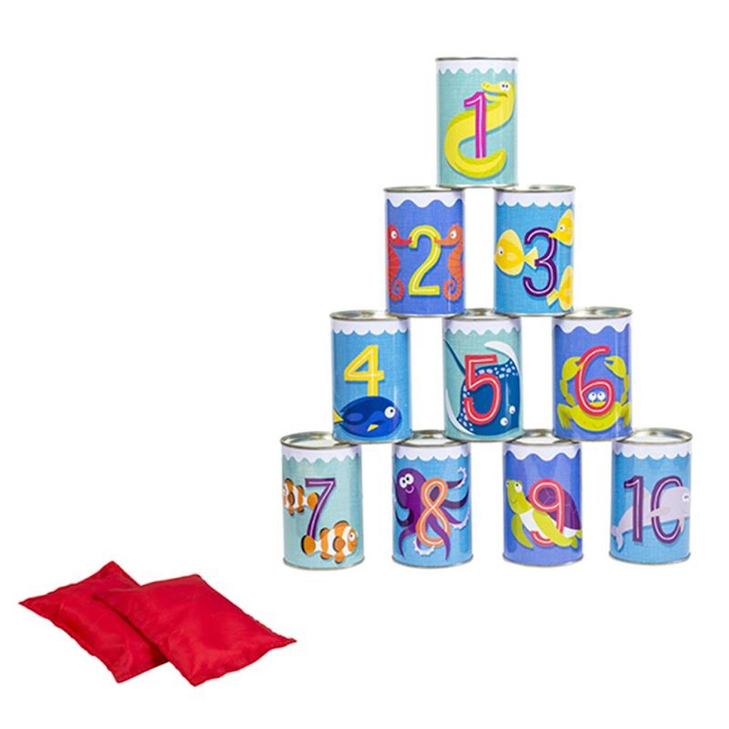 garden games from Happy Puzzle tin can knock down